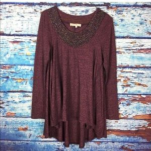 Altar'd State burgundy tunic top